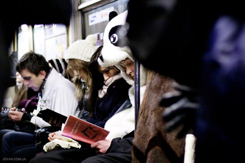 Panda in Kyiv metro
